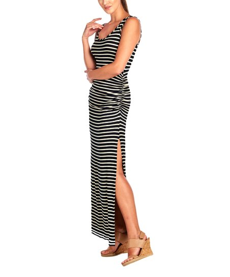 b2667becca Black   Oatmeal Stripe South Beach Ruched Sleeveless Maxi Dress - Women