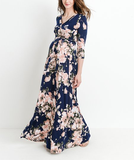 b91e50877d Hello Miz Maternity Floral Maternity Maxi Dress
