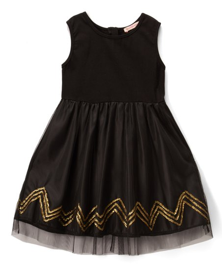 f3446d567dc5 Funkyberry Black   Gold Zigzag-Accent Sleeveless Dress - Girls