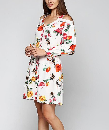 5065006fa62 love this product White Floral Button-Up Off-Shoulder Dress