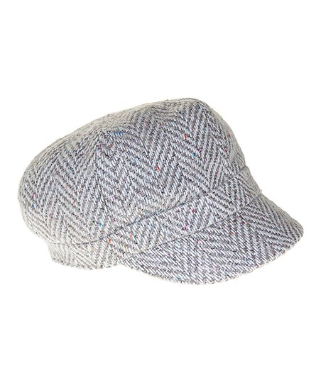 7d4b1b457a59f Nine West Gray Herringbone Wool-Blend Newsboy Cap