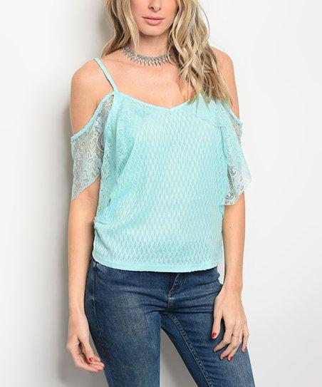 97cc8a54a159e love this product Light Blue Lace-Back Off-Shoulder Top - Women