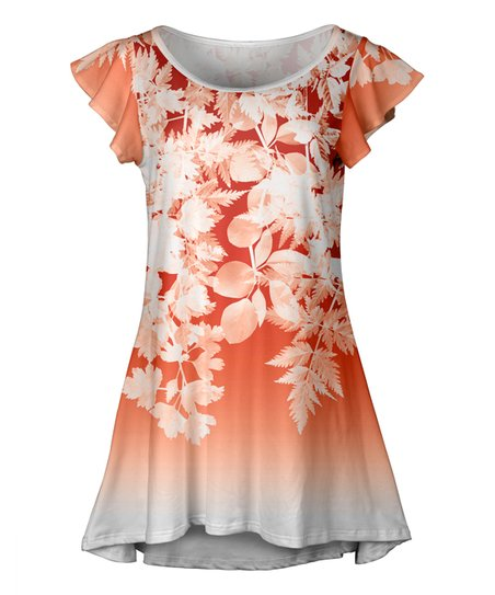 074f20f3188 love this product Orange & White Floral Ombré Flutter-Sleeve Tunic - Women  & Plus