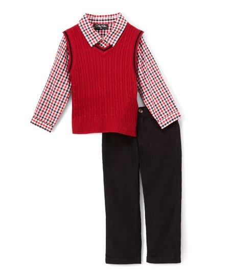 Only Kids Red Sweater Vest Set Infant Toddler Boys Zulily