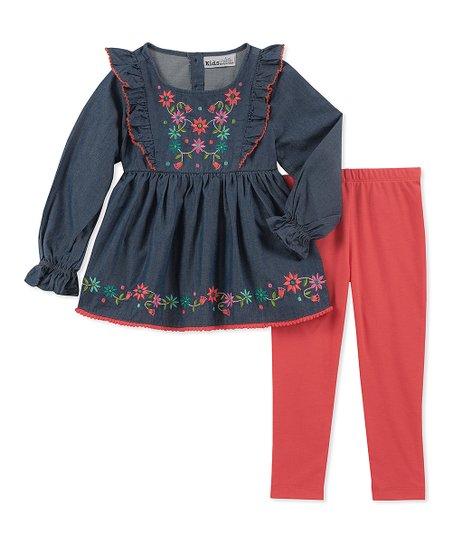 0c494d23011a Kids Headquarters Indigo Denim Embroidered Dress & Coral Leggings ...