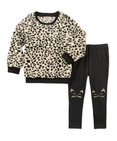 03c07b040a9da love this product Black & Beige Leopard Sweater & Cat Leggings - Infant