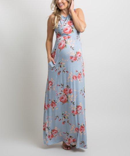 5d794cc86d464 PinkBlush Maternity Light Blue Rose Floral Sleeveless Maternity Maxi ...