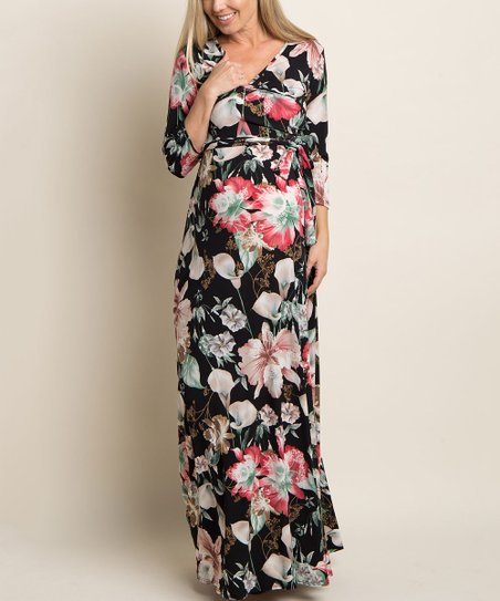 224b09b7d69 PinkBlush Maternity Black Floral Maternity Maxi Dress