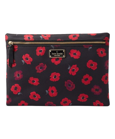 new product e28ca d78c2 Kate Spade Black Poppy Wilson Road Poppy Large Cosmetic Bag