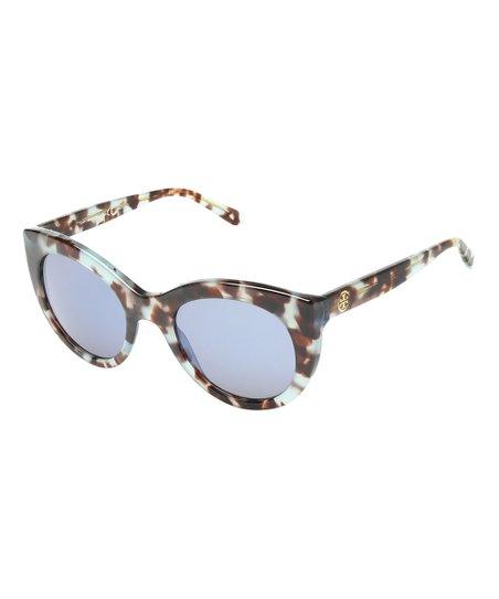 5b92c737e8b1f Tory Burch Blue Tortoise Cat-Eye Cat-Eye Sunglasses