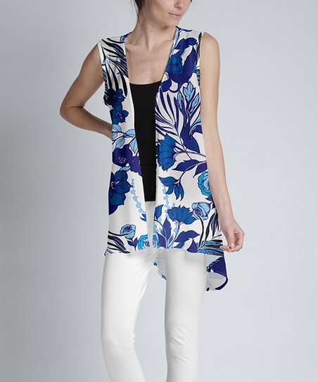 5b0157ff3d654 Lily White   Navy Floral Sheer Hi-Low Cardigan - Women   Plus