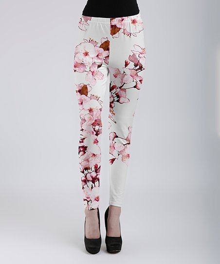 5ec348c1e5 love this product Pink & Brown Cherry Blossom Leggings - Women