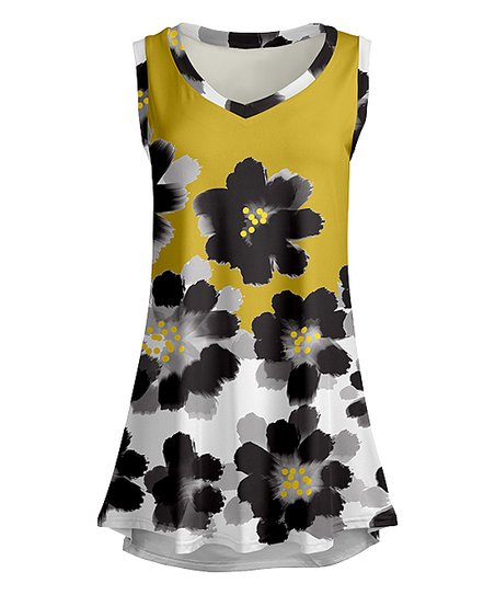 5ddcec4a61cd love this product Gold & Black Painted Floral V-Neck Tunic - Women & Plus