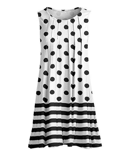 0b8f0dcbcd9 Lily Black & White Polka Dot Stripe Pin Tuck Sleeveless Tunic ...