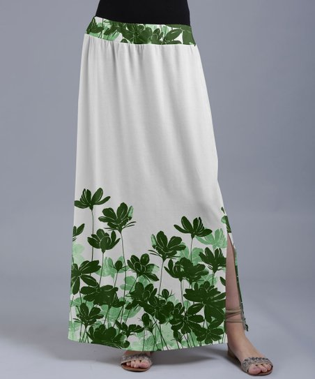 1779f477712b love this product White & Green Floral Silhouettes Maxi Skirt - Women & Plus