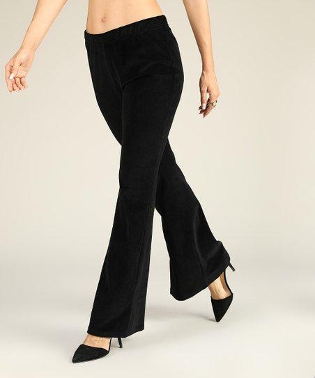 3afe478e6 Suzanne Betro Black Velvet Bootcut Pants - Women | Zulily