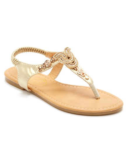 327af9139d3 Ositos Shoes Gold Embellished T-Strap Sandal - Women
