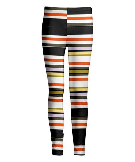 5d9883fcbf02d love this product Black & Orange Stripe Leggings - Women & Plus