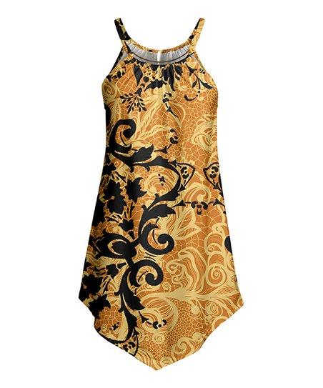 9c5bcd5c22af love this product Black & Gold Swirl Floral Sleeveless Tunic - Women & Plus