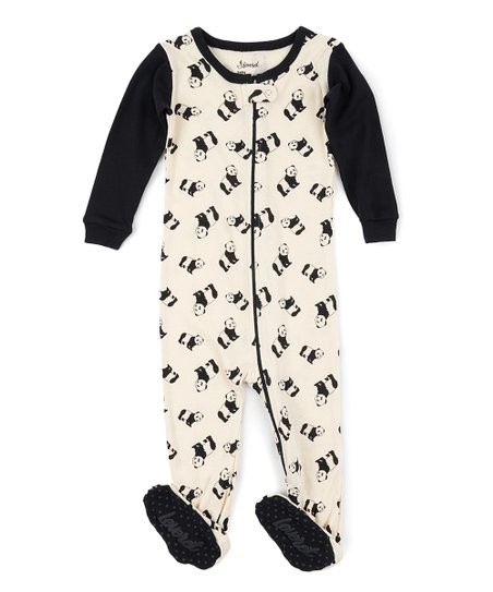 4faf7efbbb0c love this product Black   Cream Panda Contrast-Trim Footie Pajamas -  Infant