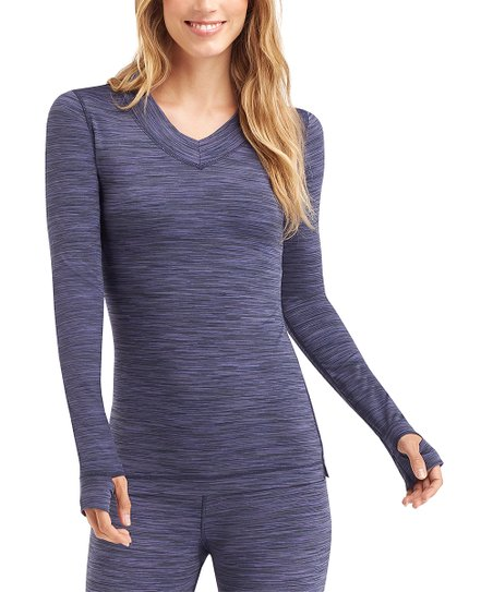 love this product Navy   Black Space-Dye FlexFit Long-Sleeve V-Neck Top -  Women eeb05ce6e