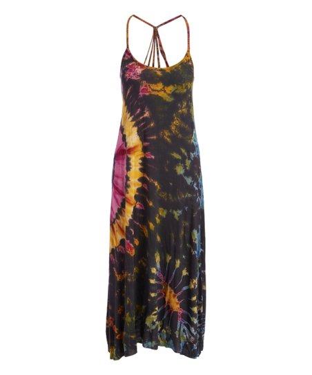 Royal Handicrafts Charcoal Gold Tie Dye Maxi Dress Women Zulily