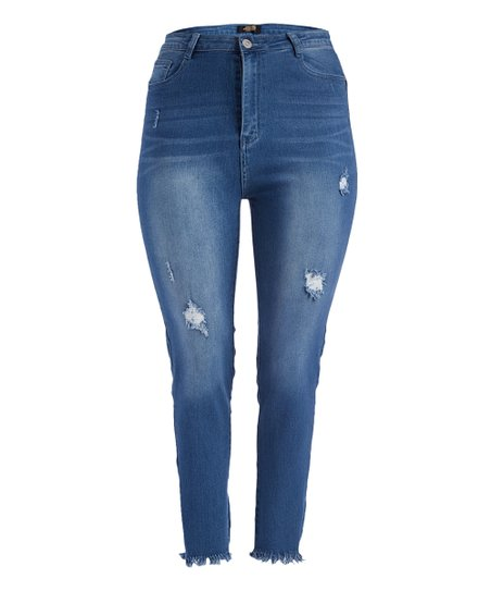 love this product Medium Blue-Wash Distressed High-Waist Skinny Jeans - Plus 89644d54155c2