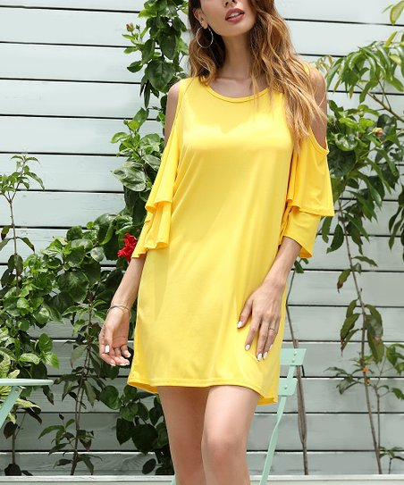 5ff04f6402a9 love this product Yellow Tier-Sleeve Cold Shoulder Swing Dress - Women    Plus