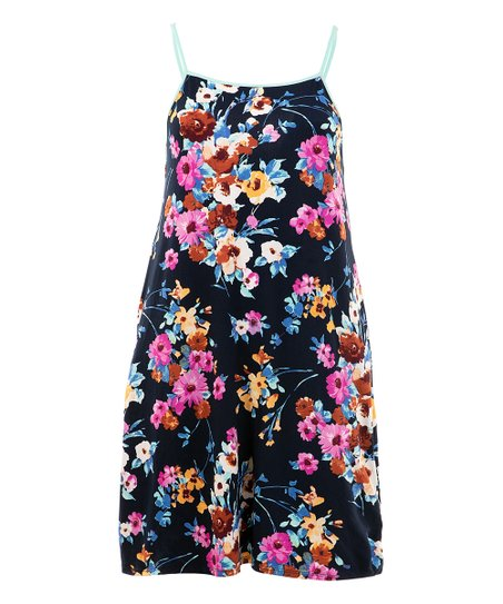 cfa898276b74 love this product Navy Floral Spaghetti Strap Romper - Plus
