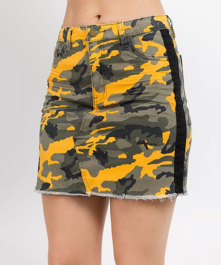 458e187b1 love this product Yellow & Black Camo Side-Stripe Denim Pencil Skirt - Plus