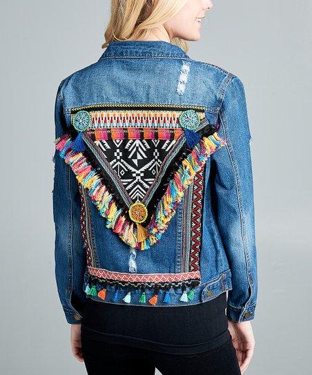 VELZERA Blue Embroidered Denim Jacket - Women  aa747b075