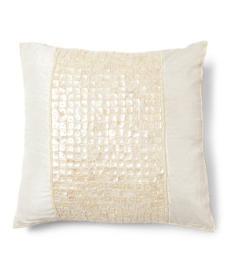 Best Home Fashion Ivory Pearlescent Tile   Faux Silk Throw Pillow ... 9e40fcd92e