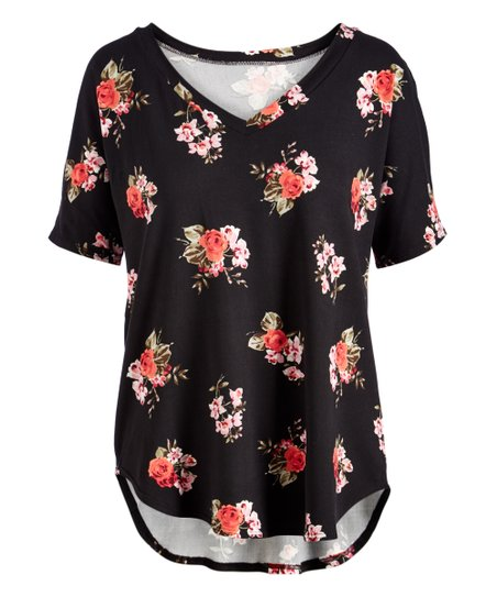e08443bbb99 love this product Black & Coral Floral Curved-Hem V-Neck Top - Women & Plus