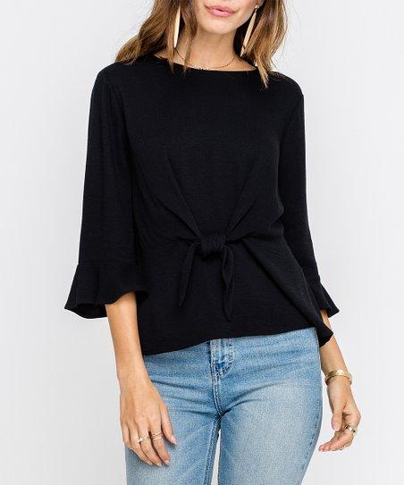 9532abc1036627 LUSH Clothing Black Tie-front Bell-Sleeve Peplum Top - Women | Zulily