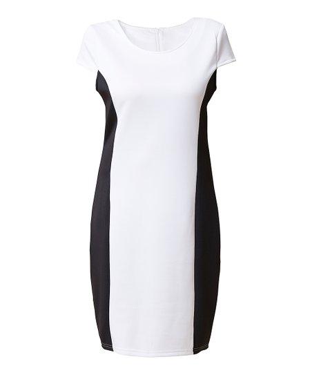4cd14958b18 love this product White   Black Color Block Cap-Sleeve Dress - Women   Plus