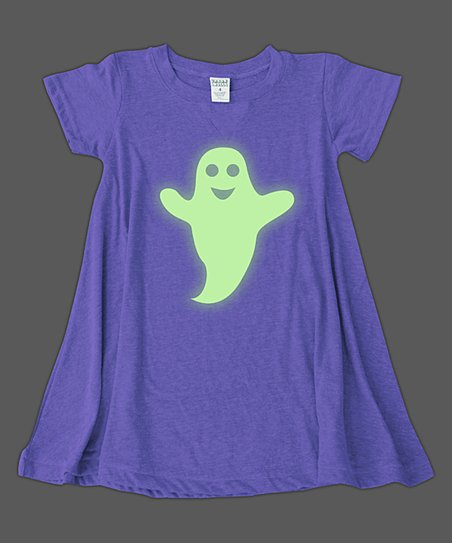 1ddea9af381b love this product Purple Happy Ghost Glow-in-the-Dark T-Shirt Dress - Girls