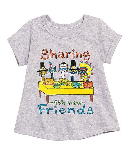 b1baba27f48ca love this product Pete the Cat Athletic Heather 'Sharing With New Friends'  A-Line Tee - Toddler & Girls