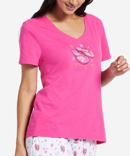 2cca648840063 Life is Good® Fiesta Pink Flip Flop Dreams V-Neck Sleep Tee - Women ...