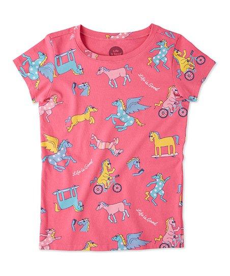 62095c73aa6b59 Life is Good® Fiesta Pink Life is Good Happy Horse Crusher Tee ...