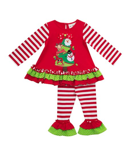 9b1f40e56eb love this product Red   Green Christmas Tree Top   Stripe Leggings - Infant