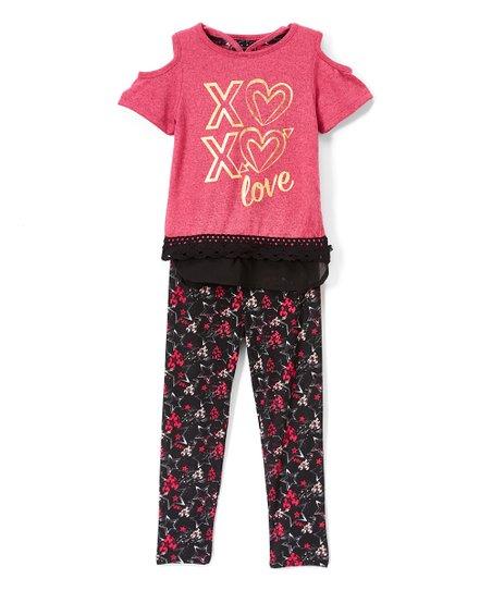 3ddca264afc1b love this product Fuchsia 'XO XO' Cold-Shoulder Top & Black Floral Leggings  - Girls