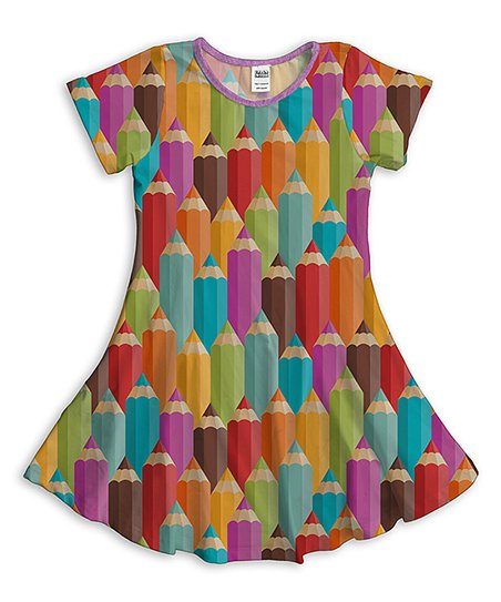 63d16379592 love this product Green & Pink Colored Pencils Fit & Flare Dress - Toddler  & Girls