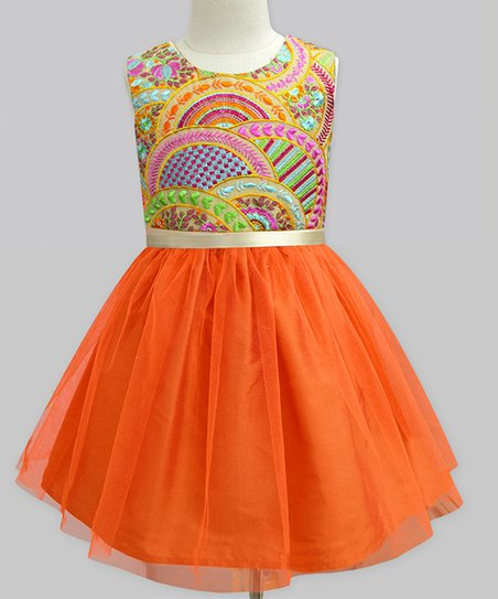 4b60e5891 love this product Orange Scallop Tulle A-Line Dress - Infant, Toddler &  Girls