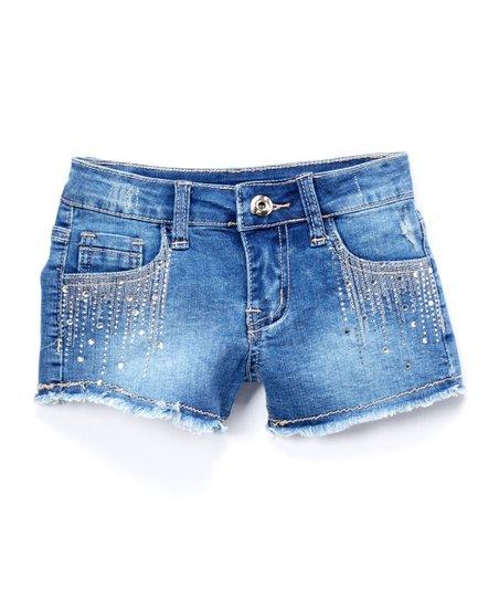 9a4b2647 Frills du Jour Blue Rhinestone-Accent Denim Shorts - Girls | Zulily