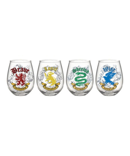 f614ae3246d Silver Buffalo, LLC. Harry Potter House Banner Stemless Glass - Set of Four
