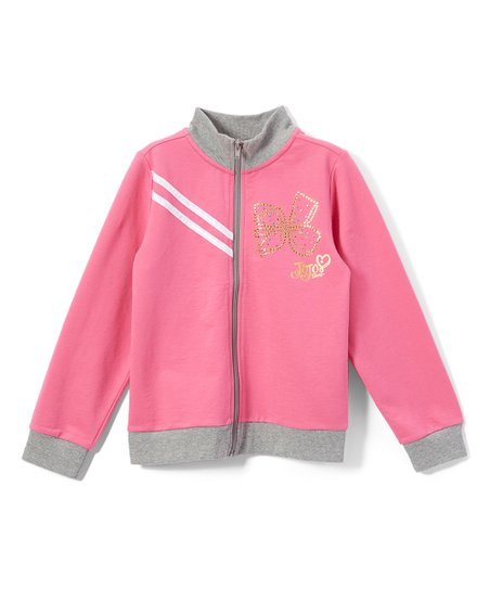 ab12b2578 Danskin JoJo Siwa Pink & Gray Rhinestone Bow Zip-Up Jacket - Toddler ...
