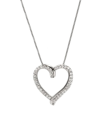 e404d82e591 love this product Sterling Silver Openwork Heart Pendant Necklace With  Swarovski® Crystals