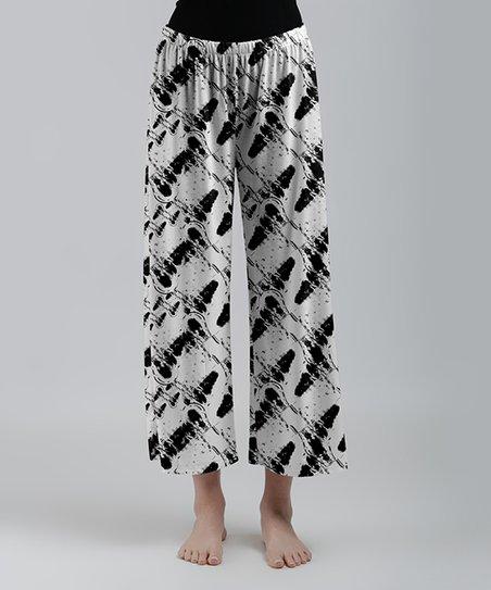 d90a5532bb0 Lily White   Black Abstract Wide-Leg Crop Pants - Women   Plus