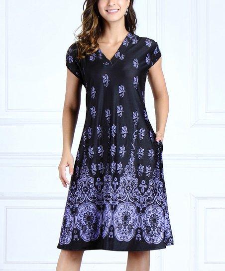 dba6b21a59c love this product Purple   Black Floral Border Short-Sleeve V-Neck Swing  Dress