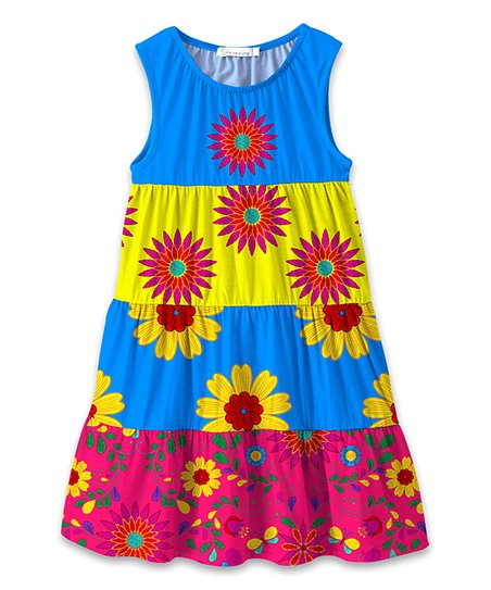 60b1dd4976 love this product Blue   Pink Floral Tiered Sleeveless Dress - Toddler    Girls